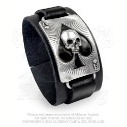 Alchemy Gothic ULA1 Ace Of Dead Spades leather wristband