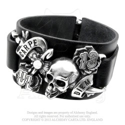 Alchemy Gothic ULA7 Carpe Diem leather wristband
