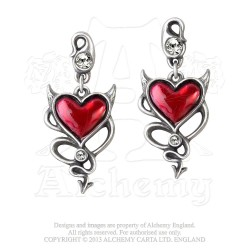 Alchemy Gothic ULFE22 Devil Heart Stud Earrings (pair)