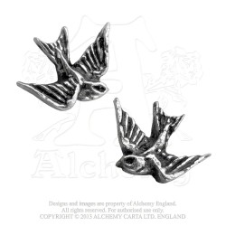 Alchemy Gothic ULFE4 Swallows Stud Earrings (pair)
