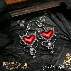 Alchemy Gothic ULFE22 Devil Heart Stud Earrings (pair)