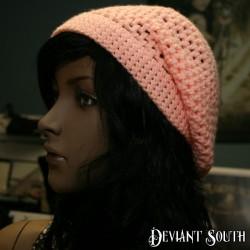 Peach Crocheted Slouch Beanie