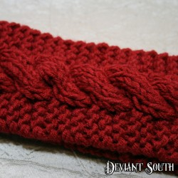 Ruby Red Cable Knit Headband