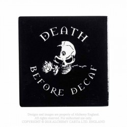 New Release! Alchemy Gothic CC7 Death Before Decaf Individual Ceramic Coaster