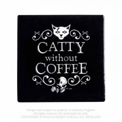 New Release! Alchemy Gothic CC8 Catty Without Coffee Individual Ceramic Coaster