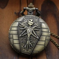 [On Demand] The Nightmare Before Christmas Jack Skellington Round Large Bronze Pocket Watch Necklace