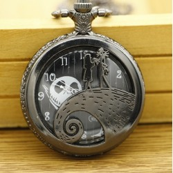[On Demand] The Nightmare Before Christmas Jack & Sally Round Large Pocket Watch Necklace