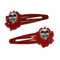 Kreepsville Skull Rose Hairslides Red (pair)