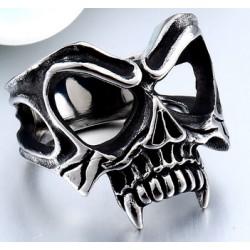 [On Demand] Stainless Steel Gothic Evil Damned Vampire Werewolf Skull Biker Ring