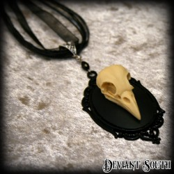 Deviant South Memento Mori Necklace featuring 3D Bird Skull Cameo
