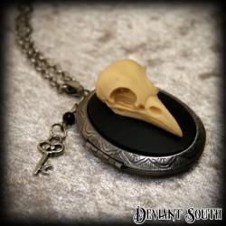 Deviant South Bird Skull Anatomical Cameo Locket