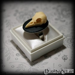 Deviant South Memento Mori Ring featuring 3D Bird Skull Cameo
