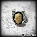 Deviant South Memento Mori Ring featuring Small 3D Ivory Sugar Skull Cameo