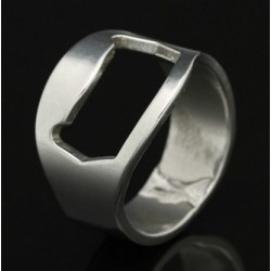 Stainless Steel Bottle Opener Ring - Silver, Size: 10 | U