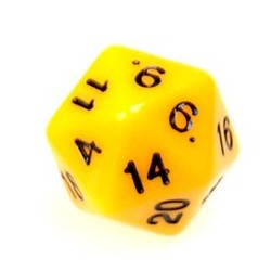 Gaming Die 20 Sided D20 - Yellow