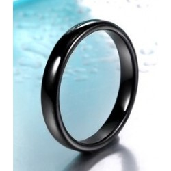Stainless Steel Slim Thin Curved Band Ring - Black