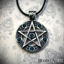 Stainless Steel Pentagram Necklace - Green Rhinestones