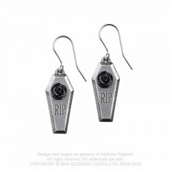 New Release! Alchemy Gothic E432 RIP Rose earrings (pair)