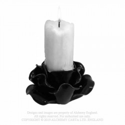 Alchemy Gothic SCR3 Black Rose Candle Holder / Pot (pillar)