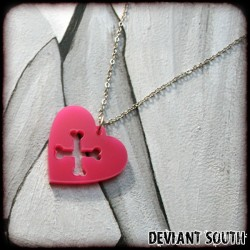 Deviant South Pink Acrylic Heart & Crossbones Necklace