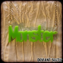 Deviant South Green Acrylic Monster Pendant Necklace