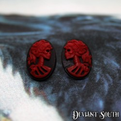 Deviant South Madame Squelette Cameo Black and Red Earring Studs