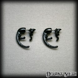 Hanging Cats Long Tails Earrings (pair) - Black