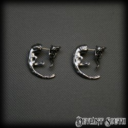 Hanging Cats Long Tails Earrings (pair) - Silver