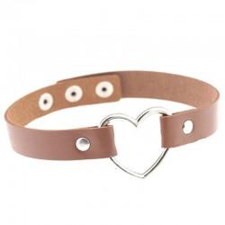 PU Leather Heart Choker Collar - Brown