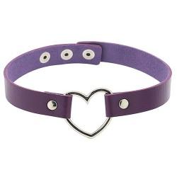 PU Leather Heart Choker Collar - Purple