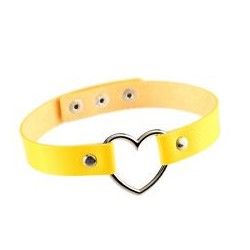 PU Leather Heart Choker Collar - Yellow