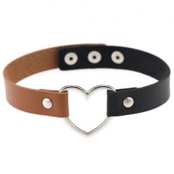 PU Leather Heart Choker Collar - Black & Brown