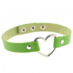 PU Leather Heart Choker Collar - Green