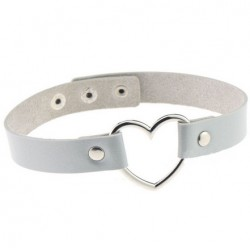 PU Leather Heart Choker Collar - Silver