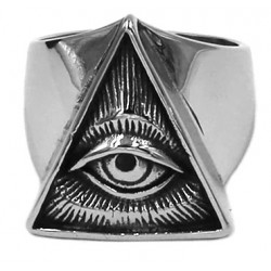 Eye of Providence Stainless Steel Ring - Silver