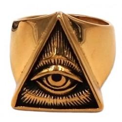 Eye of Providence Stainless Steel Ring - Gold