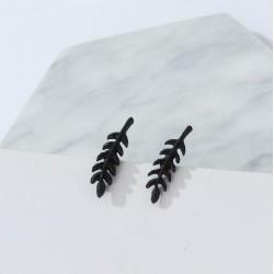 Black Branch Leaf Earrings (pair)