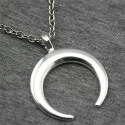 Crescent Moon Horn Smooth Necklace - Medium