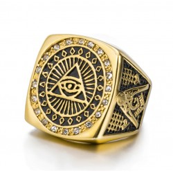 All-Seeing-Eye Illuminati Pyramid Stainless Steel Gold-Plated Ring
