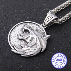 The Witcher Wolf Medallion Geralt of Rivia Stainless Steel Necklace