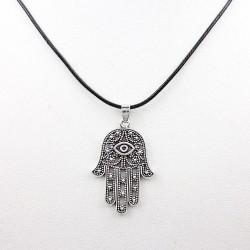 Hamsa Hand Fatima Palm Evil Eye Filigree Pendant Necklace