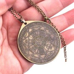 Large Bronze Seal of the Seven Archangels Amulet Pendant Necklace