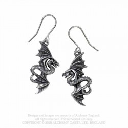 New Release! Alchemy Gothic E442 Flight of Airus Dropper Earrings (pair)