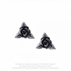 New Release! Alchemy Gothic E447 Ring O' Roses Stud Earrings (pair)