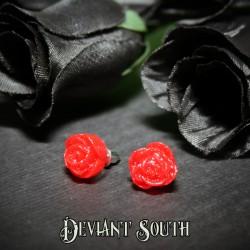 Glitter Rose Stud Earrings - Red