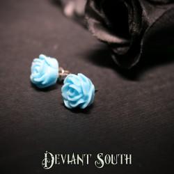 Glitter Rose Stud Earrings - Blue