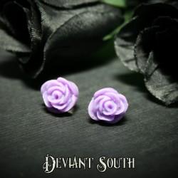 Glitter Rose Stud Earrings - Purple
