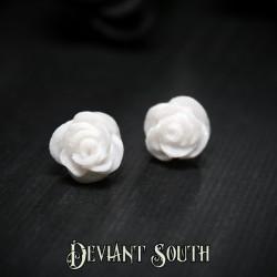 Glitter Rose Stud Earrings - White