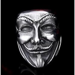Stainless Steel V For Vendetta Mask ring
