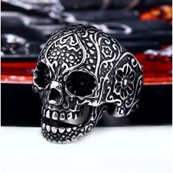 Stainless Steel Sugar Skull Ring